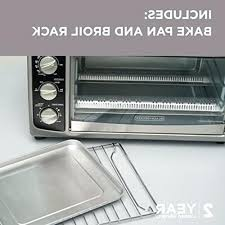 black and decker 6 slice convection oven includes bake pan rack toasting steel toaster dimensions