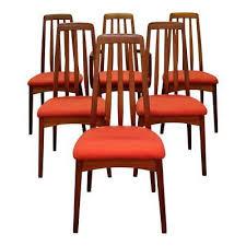 set of 6 mid century danish modern hornslet style teak dining chairs