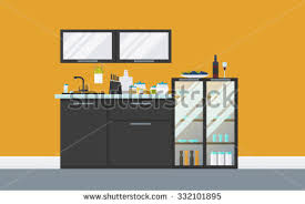 creative furniture icons set flat design. Modern Kitchen With Sideboard, Cupboard, Equipment. Creative Concept Hi-tech Interior With. Rainbow Vector Flat Icons Furniture Set Design V