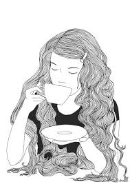 11 Drinking Drawing Tumblr Drinking Coffee Girl For Free Download On