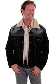 mens dakota black suede wool with fur collar western jacket