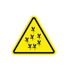red triangle warning vector image attention mosquito midge in yellow triangle vector image