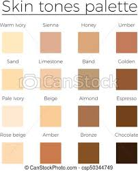 Skin Tone Color Chart Skin Tones Color Palette Vector