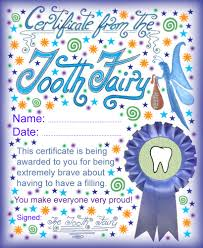 Tooth Fairy Certificate bravery having a filling