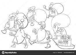 Santa Claus Groep Kleurplaat Stockvector Izakowski 158982926