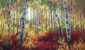 sunlit autumn aspen paintings birch trees art by jennifer vranes jensart