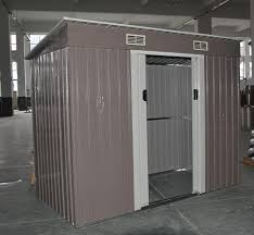 prefab garden metal pent shed kits with double lockable sliding doors images