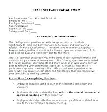 Sample Performance Self Evaluation Answers Review Appraisal Job