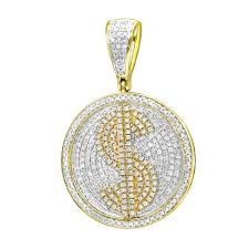 real 10k gold diamond dollar sign money pendant for men 1 carat medallion yellow image