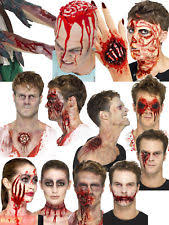 latex prosthetic wound kit blood make up zombie fancy dress costume