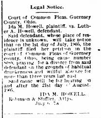 Ida Howell files for divorce from Luther A Howell in Guernsey County, Ohio.  - Newspapers.com