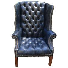 pendale wingback chairs 26 for at 1stdibs fabulous navy blue leather tufted wing chair