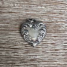 vintage silver puffy heart charm puffy heart repousse flowers and swirls design gallery photo