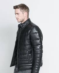 zara quilted leather jacket in black for men lyst