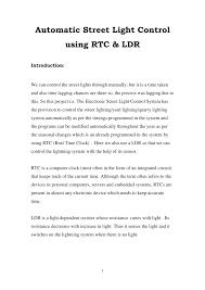Automated Solar Street Light System Ppt Pdf Automatic Street Light Control Using Rtc Ldr