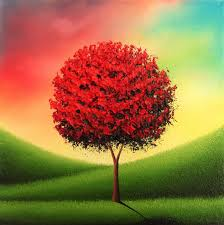 original red tree landscape painting modern oil painting on canvas textured impasto painting 8x8