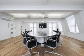 white office interior. Perfect Ideas For Your Office Interior Using Cool Conference Table : Casual Parquet Flooring And White R