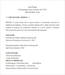 Construction Resume Examples Fascinating 60 Construction Resume Templates DOC PDF Free Premium Templates