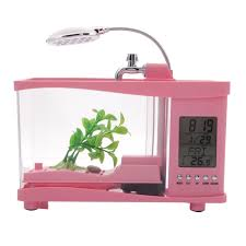 Awesome Multifunctional USB Fish Tank Alarm Clock Pen Container Desk Lamp Pink    Tmart