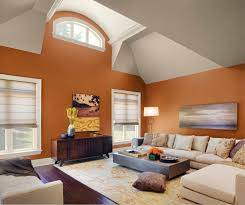 Living Room:Marvellous Living Room With Striking Orange Wallpaper Idea  Awesome Orange Beige Accent Wall