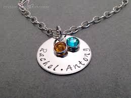 mom necklace hand stamped circle necklace with custom names and birthstones product images of