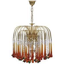1970s murano teardrop and fruit crystal chandelier