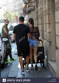 Milan, Mateo Musacchio and family in the center for shopping Mateo Musacchio,  27 years old Argentinian, defender of Milan and National Argentina, arrives  downtown with the beautiful girlfriend IRENE GONZALEZ TOBOSO and