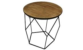 metal and wood side table round
