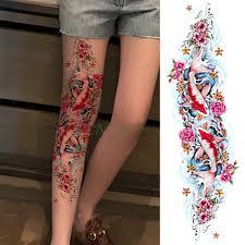 водонепроницаемая временная татуировка наклейка карп рыба цветок