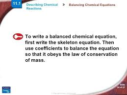 balancing chemical equations 20 examples describe reactions