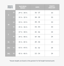 Mens Pants Size Chart Medium Size Guides Tilley