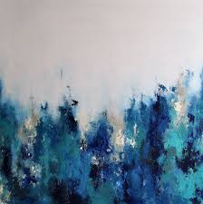 original abstract palette knife painting blue grays large 35 x35 unstretched rolled in a on 480 00