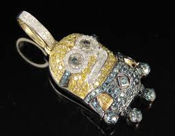 uni real diamond minion cartoon pendant charm 10k yellow gold 1 1 2 ct 1 5