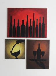 set of three canvas acrylic painting wine bottles silhouette painting