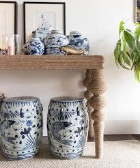 blue u0026 white garden stool white garden stool87