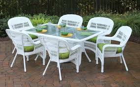 image of white wicker furniture dining