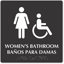 Image Handicap Zoom Price Buy Mydoorsigncom Bilingual Bathroom Signs Spanish Bathroom Signs