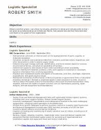 Logistic Specialist Resume Samples Qwikresume