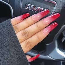 Nail Designs Red Ombre Pin By Tay Israel On Nail Red Acrylic Nails Faded Nails