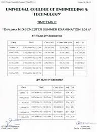 circular ucetucet  diploma schedule of mid semester summer examination 2015