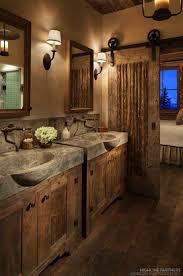 rustic bathroom ideas pinterest. Fine Ideas Rustic Bathroom Dcor With Concrete Sinks And Barn Door Intended Ideas Pinterest
