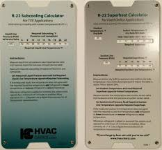R22 Superheat Chart R22 Superheat Subcooling Slide Rule Calculator