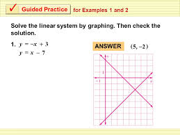 guided practice for examples 1 and 2 solve the linear system by graphing