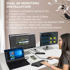 USB C Dual Monitor DisplayLink Docking Station: DisplayPort + HDMI and  Laptop Power Delivery