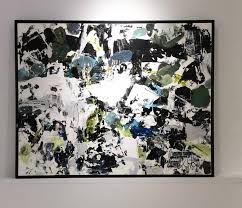 orchestra black white and blue abstract expressionist acrylic painting gray abstract painting by