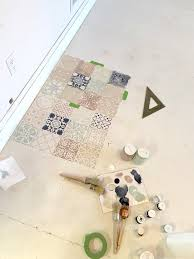 we used three diffe brushes for our diy stenciled concrete floor one for dark paint medium paint and the last one for light colors
