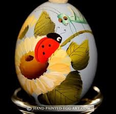 hand painted egg art designs by margit jakab ladybug and grasper