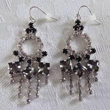 lulu frost crystal chandelier statement earrings silver black gray hook
