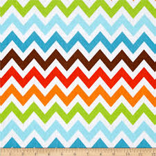 Remix Chevron Bermuda Orange/Blue - Discount Designer Fabric - Fabric.com