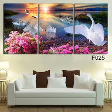 large wall pictures for living room decoration art 3 pieces modern decorative picture white swan oil painting on canvas on 3 piece framed wall art for sale with  large wall pictures for living room decoration art 3 pieces modern